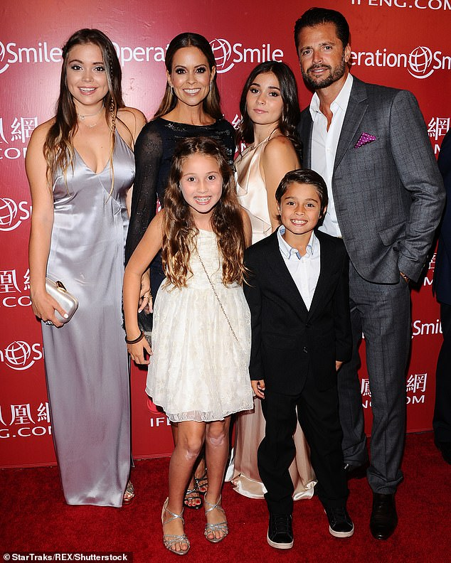 Family first: Burke Charvet with ex David Charvet as well as her four kids Shaya, Neriah, Heaven and Sierra at Operation Smile Hosts Gala in 2016