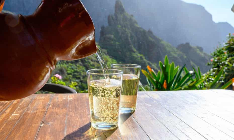 Crisp white wine in the small mountain village of Masca