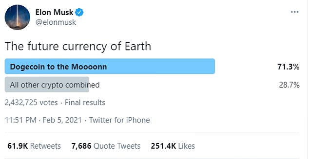 Musk called it 'the future currency of Earth' after putting up a poll for his followers