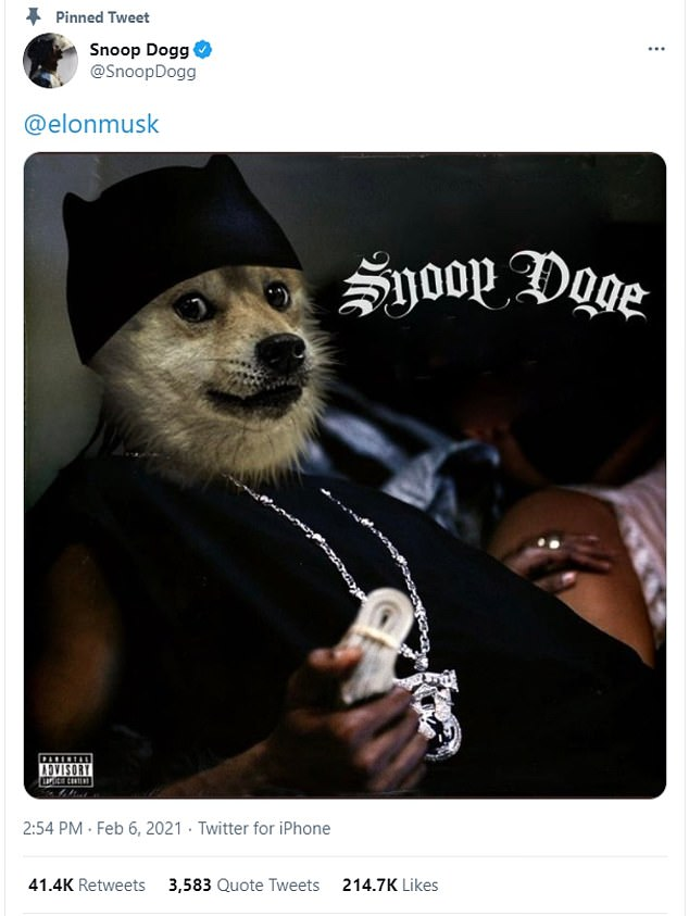 The coin has also since been endorsed by rapper Snoop Dogg who tweeted an image of a dog tagged 'Snoop Doge'