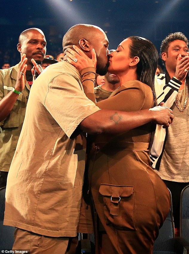 Early days of love: Kim and Kanye are seen here in 2015 in Los Angeles at the MTV Video Awards