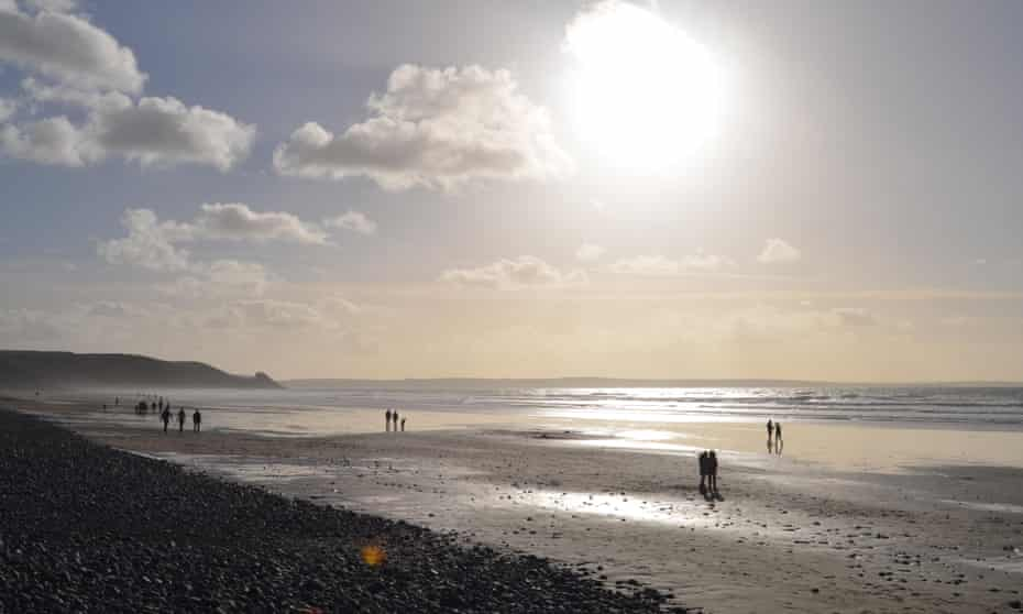 Newgale beach, Pembrokeshire, in winter sunshine