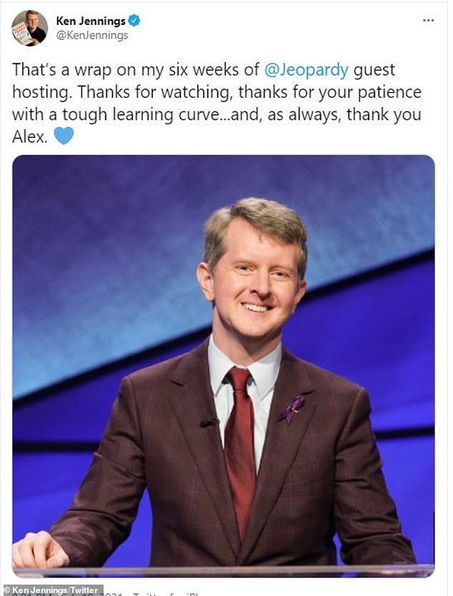 Tribute: Jennings, 46, thanked Trebek at the end of his six-week run as guest host, as well as all of the other episodes worked