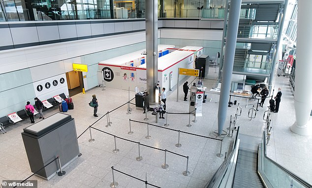 A deserted Terminal 5 as the aviation industry continues to be badly hit by the Covid crisis