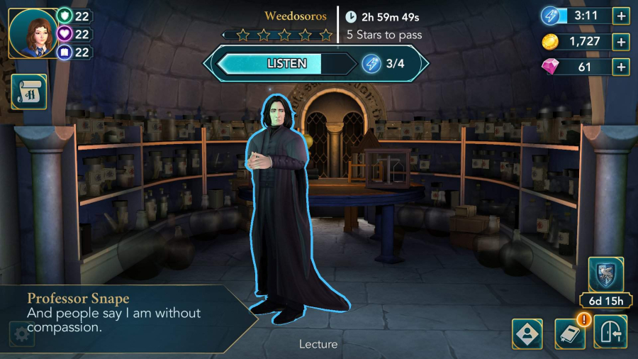 Professor Snape gained a reputation for his funny, yet sometimes rude, remarks on Hogwarts Mystery.