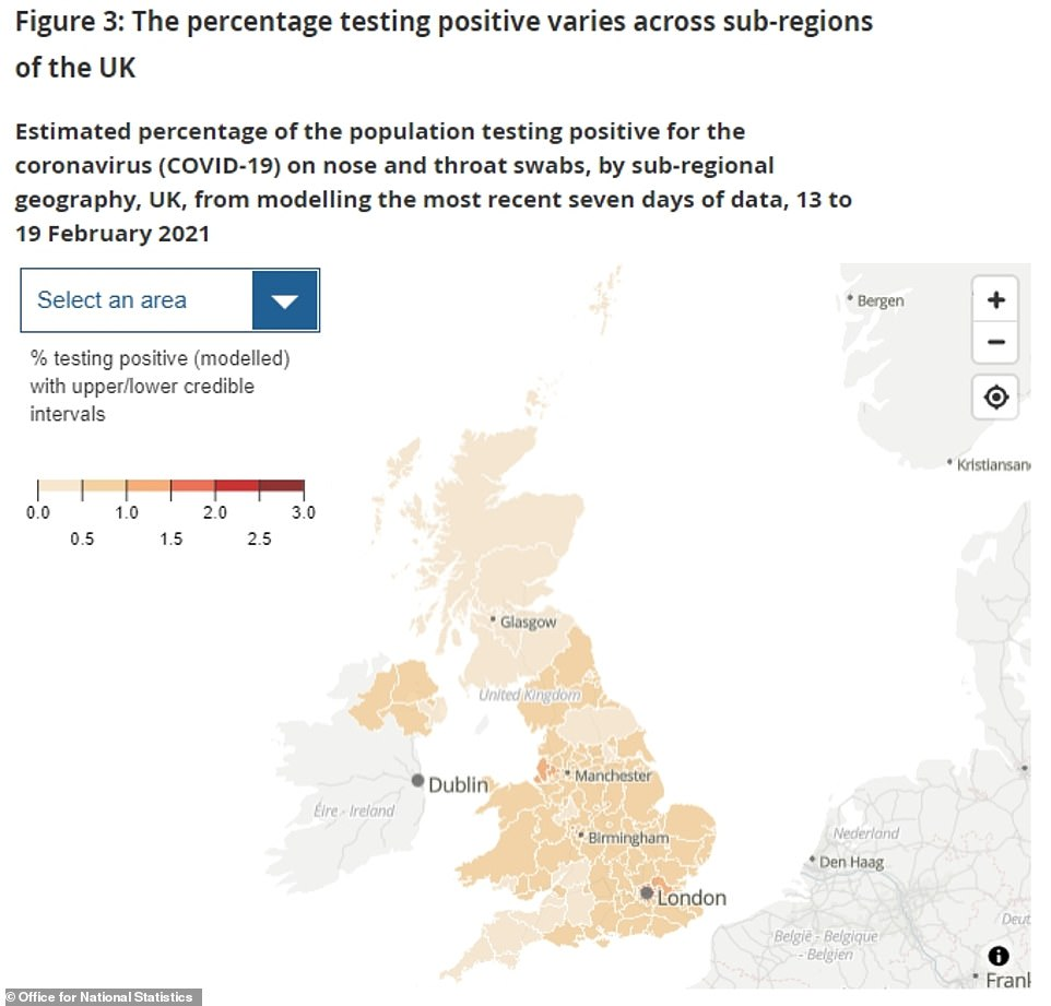 Above is a map showing the spread of the virus across the UK, as estimated by the ONS. Their figures are taken as the gold standard by ministers because they are based on hundreds of thousands of random swabs across the country