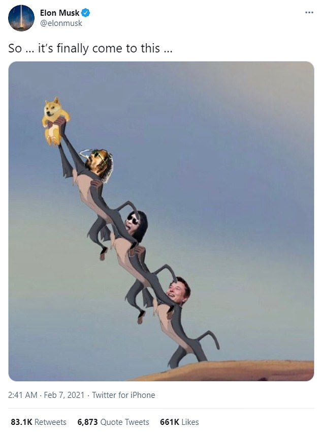 Following the attention from Snoop and Simmons, Musk tweeted an image of the trio in which they had been superimposed on a scene from the Lion King