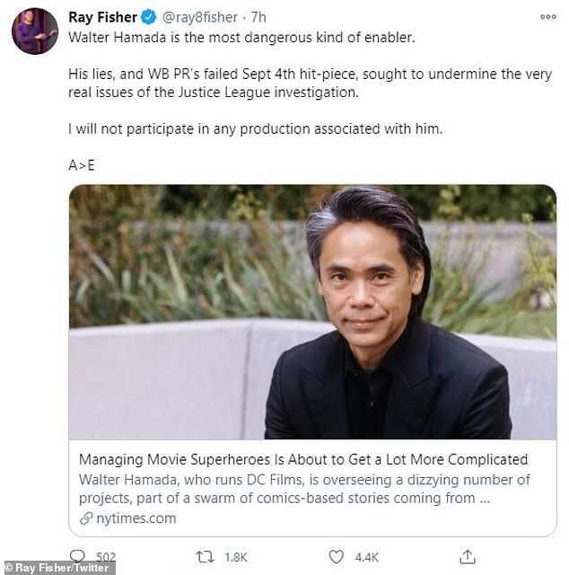 Bad blood: Fisher tweeted Wednesday that he wouldn't work with DC as long as Hamada was involved