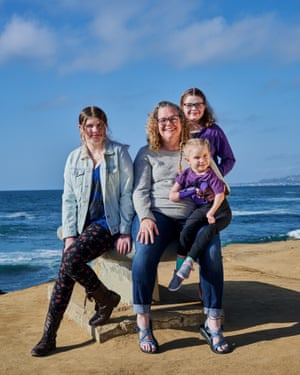 A portraits of Shana Thomas with her daughters, Mckenna, 13, Keely, 10 and Bridget, 6, in San Diego, California.