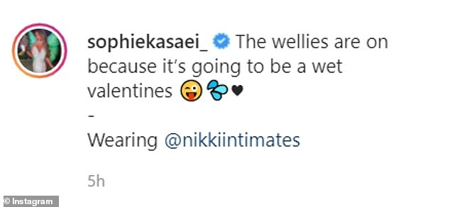Cheeky: Sophie wore Hunter boots in the snap, which she captioned: 'The wellies are on because it's going to be a wet valentines' [sic]