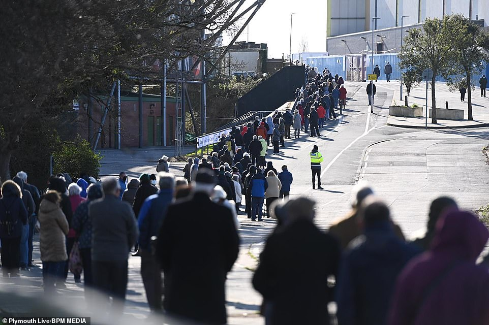 Hundreds of elderly and frail people were left 'freezing' as they queued up outside in the cold to receive their Covid jab outside Home Park in Plymouth today