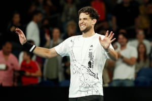 Dominic Thiem celebrates after his impressive comeback to beat Nick Kyrgios.