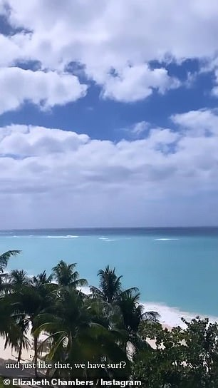 Back to nature: Another post gave her 265,000 followers a glimpse at the enviable view from her abode in the Cayman Islands, where she has been reportedly staying with her and Hammer's two young children