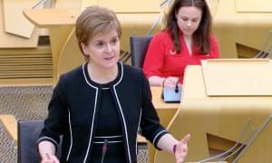 Nicola Sturgeon in the Scottish parliament this afternoon