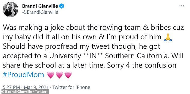 Update: She later clarified that Mason had been accepted to a university that's located in the Southern California area, as opposed to USC specifically