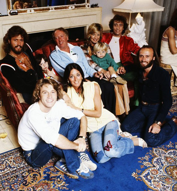 Andy Gibb and the Bee Gees with their families and manager Robert Stigwood