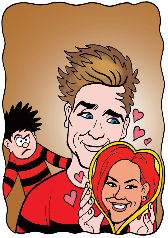 Joe Sugg with Dennis the Menace and Dianne Buswell in Beano comic.