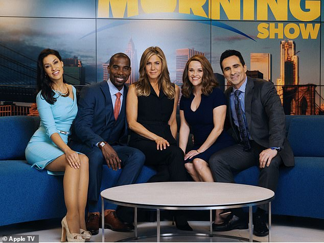 Aniston and Witherspoon's series The Morning Show documents a fictional morning news program inspired by The Today Show and Good Morning America; still from The Morning Show