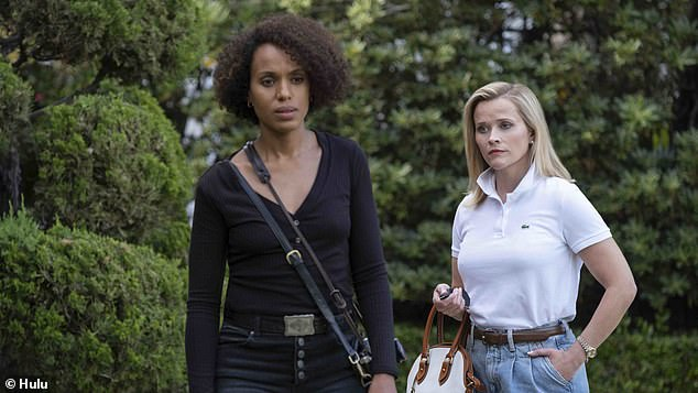 Move to TV: The show is Aniston's first TV work since 2012, but Witherspoon has become the queen of prestige TV after starring on Big Little Lies and Little Fires Everywhere; pictured with Kerry Washington in Little Fires Everywhere