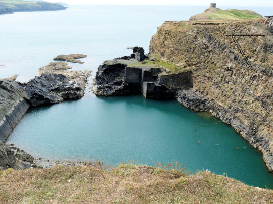 Blue Lagoon Abereiddi a flooded slate quarry and venue for world cllif diving events.