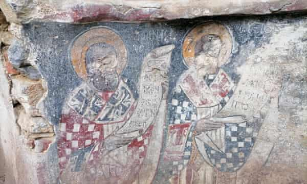 'Saints with their eyes gouged out by Ottoman iconoclasts' in a ruined chapel on Tilos.