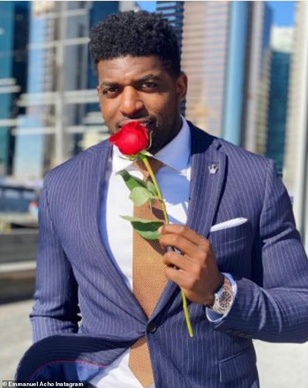 Replacement: Acho who found fame in the summer after his Instagram series Uncomfortable Conversations With A Black Man went viral is taking Harrison's place for the After The Final Rose special; pictured February 27