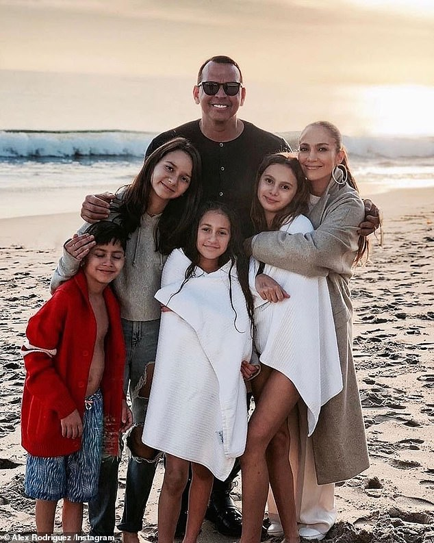 Blended family: The superstar's children had become very close to Rodriguez's two daughters, Natasha, 14, and ten-year-old Ella, whom he shares with ex-wife Cynthia Rodriguez
