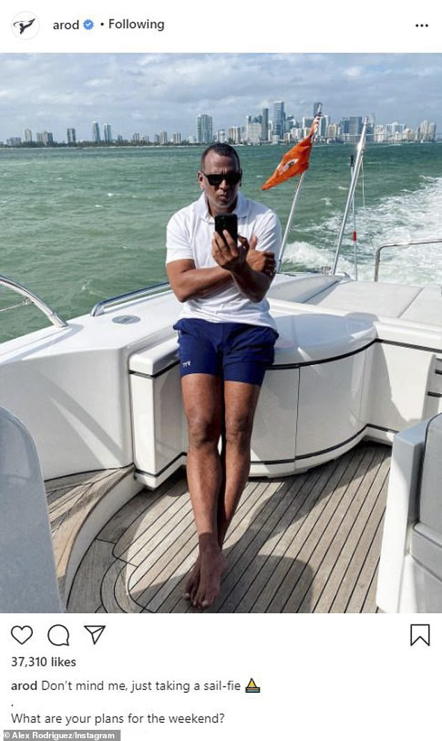 Solo? Rodriguez appeared to brush off the reports as he shared a picture of himself alone on a yacht in Miami on Friday, which he captioned: 'Don't mind me, just taking a sail-fie… What are your plans for the weekend?'