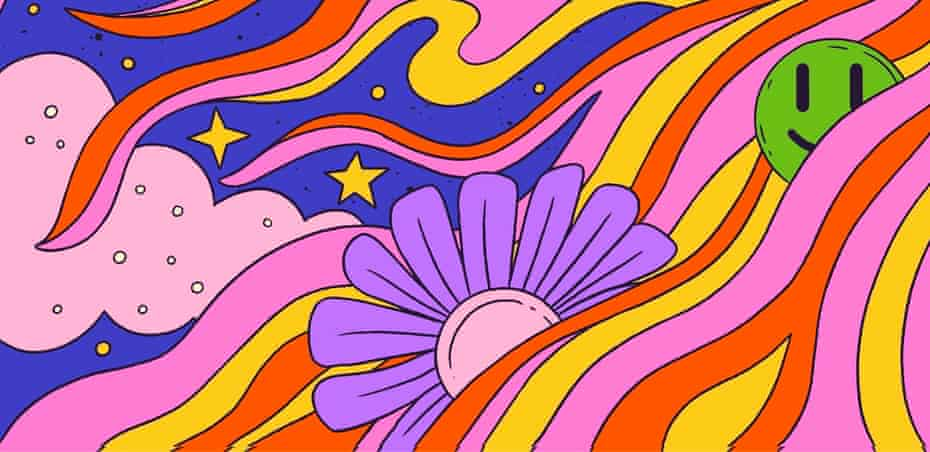Crop of illustration of woman on psychedelic trip