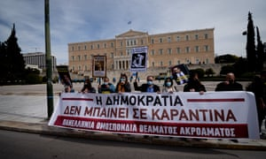 Artists gather to protest against the COVID-19 restrictions in Athens, Greece on March 13, 2021. Artists Protest In Athens, Greece - 13 Mar 2021