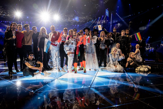 Eurovision finalists (L-R) Victor Crone, Lake Malawi, Nevena Bozovic , Serhat, ZENA, Kate Miller-Heidke and Tamta during the 64th annual Eurovision Song Contest held at Tel Aviv Fairgrounds on May 14, 2019 in Tel Aviv, Israel