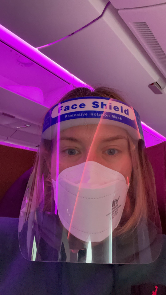 Nicole in PPE on the flight to the US