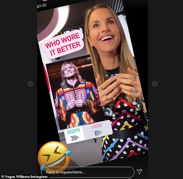 Colourful: Poking fun at her look, the 35-year-old Heart FM presenter asked her followers who had 'worn it better' as she shared a snap with Joseph and the Amazing Technicolor Dreamcoat