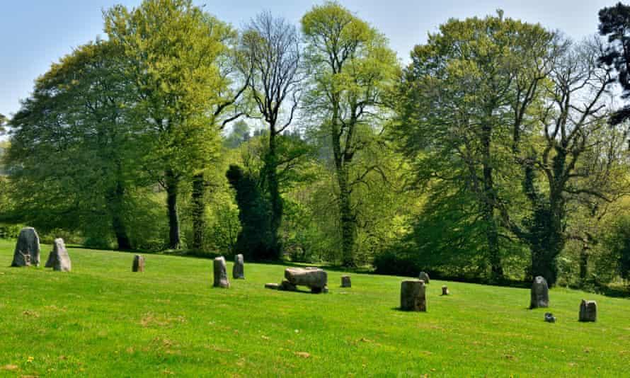 Gorsedd Stone Circle erected in 1923 for 1924 National Eisteddfod, Pontypool Park, Torfaen, south east Wales, UK