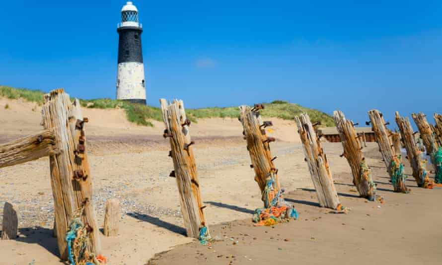 Spurn Point Beach Scene with Lighthouse. Image shot 05/2008. Exact date unknown.