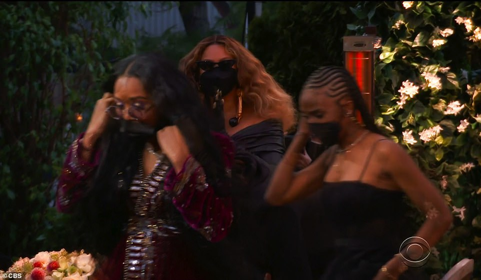Showing her support: Beyonce gave the fellow artists a standing ovation as they made their way to the stage
