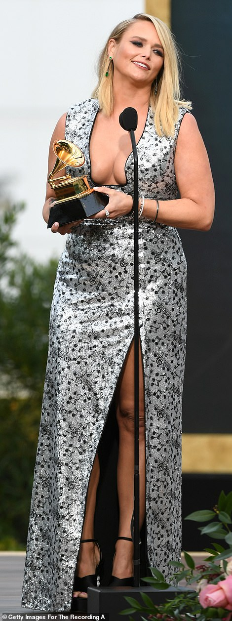 Shining star: She beat out competition including: Ingrid Andress 'Lady Like', Brandy Clark 'Your Life Is A Record,' Little Big Town 'Nightfall,' and Ashley McBryde 'Never Will'