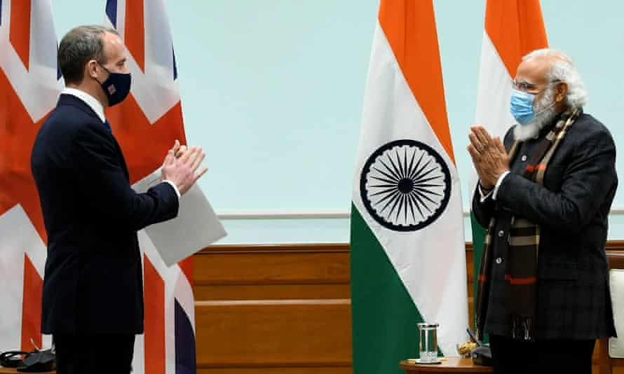 The Indian prime minister, Narendra Modi, receives the British foreign secretary, Dominic Raab, in New Delhi.