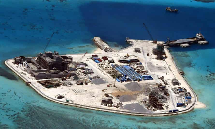 Construction at the disputed Spratley Islands in the south China Sea by China
