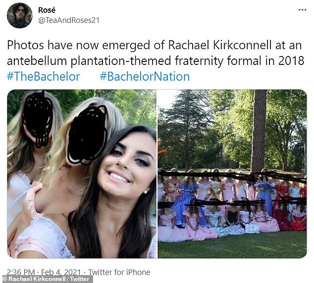 Uh oh: Photos surfaced of contestant Rachael Kirkconnell at a plantation-themed party in 2018 as well as a history of liking photos with the Confederate flag among other controversies
