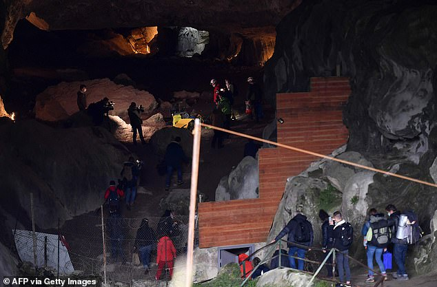 Sequestered in the Lombrives cave in Ariège (pictured), the team have four tons of supplies to live on — along with water from the cave and a pedal-driven dynamo for electricity