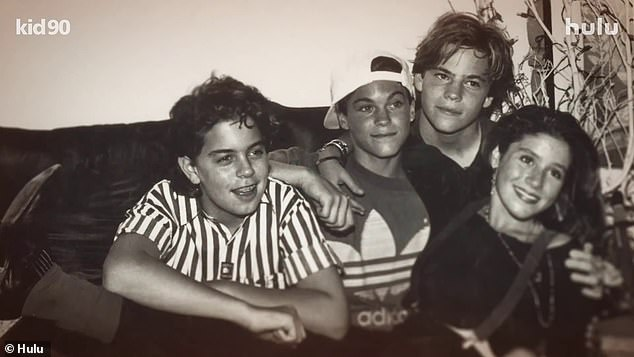 Star studded: Oscar winner Leonardo DiCaprio executive produced Kid 90, which also features never-before-seen footage of Brian Austin Green (2-L), Stephen Dorff (2-R), Mark-Paul Gosselaar, Danny Boy O'Connor, Sara Gilbert, Mark Wahlberg, and more