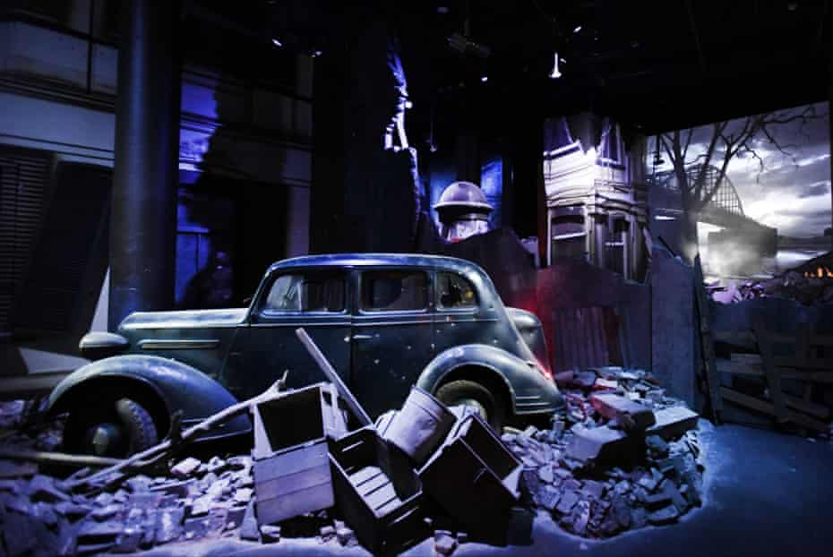 An exhibit – a car amid rubble – in the Airborne Museum in Oosterbeek.