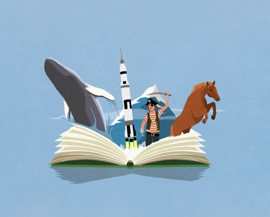 Imaginative boy pirate reading adventure travel book
