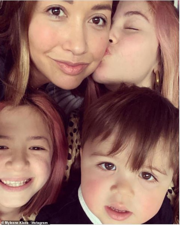 'There's a lot of babies in the bed': Myleene celebrated Mother's Day on Sunday by chilling with her three children Ava, Hero and Apollo
