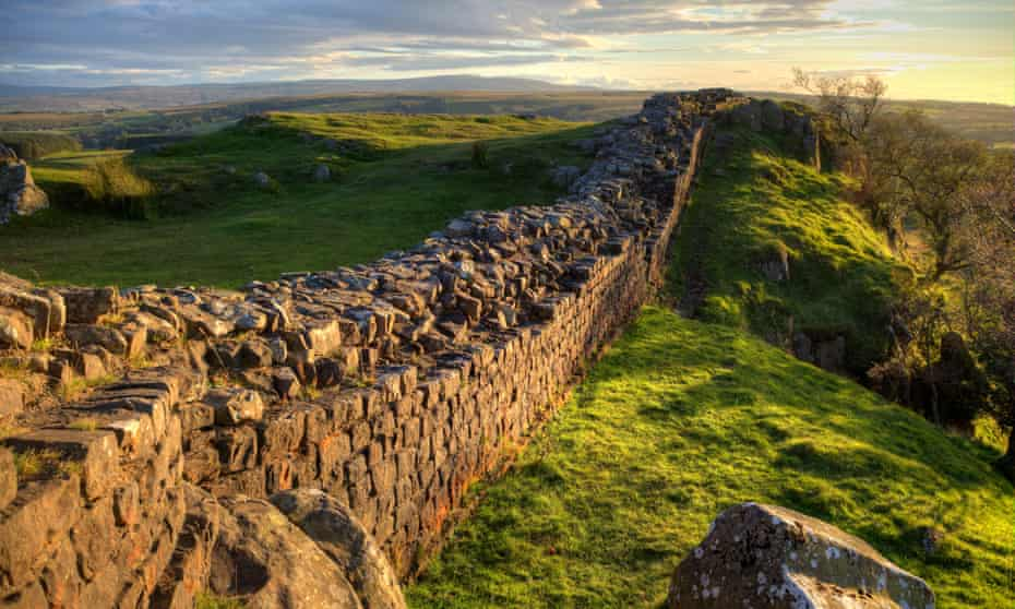 Evening Light on Hadrian's WallA stretch of Hadrian's Wall at Walton's Crags in Northumberland, England, coloured by the setting sun
