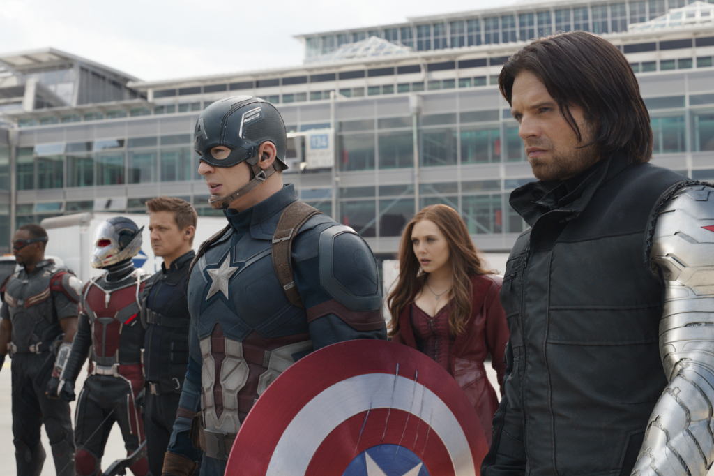 Marvel's Captain America: Civil WarL to R: Falcon/Sam Wilson (Anthony Mackie), Ant-Man/Scott Lang (Paul Rudd), Hawkeye/Clint Barton (Jeremy Renner), Captain America/Steve Rogers (Chris Evans), Scarlet Witch/Wanda Maximoff (Elizabeth Olsen) and Winter Soldier/Bucky Barnes (Sebastian Stan)Photo Credit: Film Frame© Marvel 2016