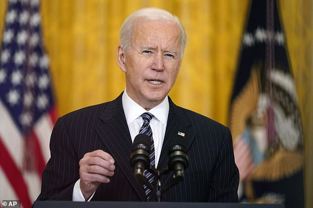 'Tomorrow, 58 days into our administration, we will have met my goal of administering 100 million shots to our fellow Americans. That's weeks ahead of schedule. And even with the setbacks we faced during the winter storms,' President Biden said