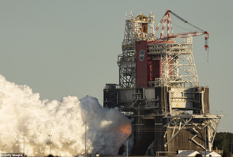 NASA previously tested all four engines of its behemoth core stage in January (pictured), but the test lasted for about a minute - well short of the roughly four minutes engineers needed