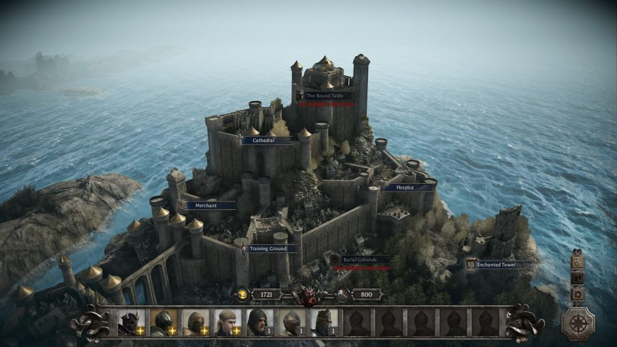 a view of camelot in king arthur knights tale, the base you have to build up